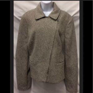 TALBOTS Tweed Wool Lined Asymetrical Zip Career